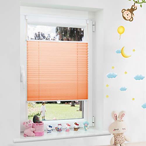 Grandekor Plissee Kinderzimmer Mädchen, Plisseerollo Jalousien Klemmfix ohne Bohren Sichtschutz & Sonnenschutz Schlafzimmer für Fenster & Tür - 50x130cm (BxH) Orange