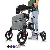 Vive Rollator Walker - Folding 4 Wheel Medical Rolling Walker with Seat & Bag - Mobility Aid for Adult, Senior, Elderly & Handicap - Aluminum Transport Chair (White)