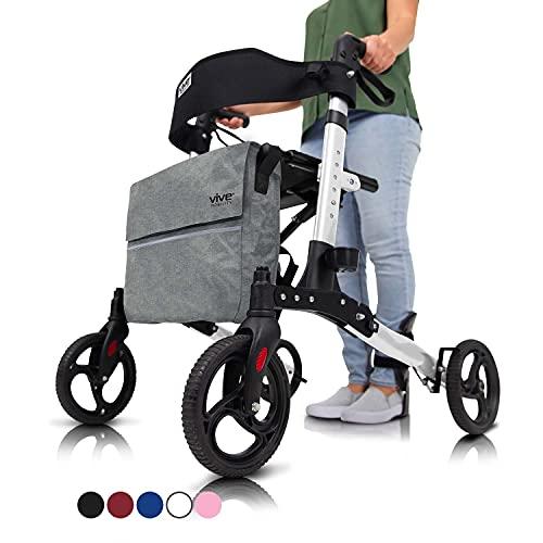 Vive Rollator Walker - Folding 4 Wheel Medical Rolling Walker with...