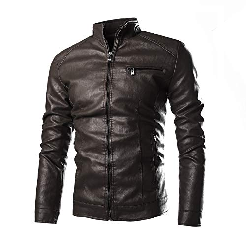 Men's Leather Jacket Vintage Faux Leather Jacket Motorcycle Biker Outwear