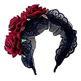 Lurrose Bandeau en dentelle gothique noire en dentelle Jour du cerceau des cheveux morts Bandeau mexicain pour le bandeau Costume Cosplay
