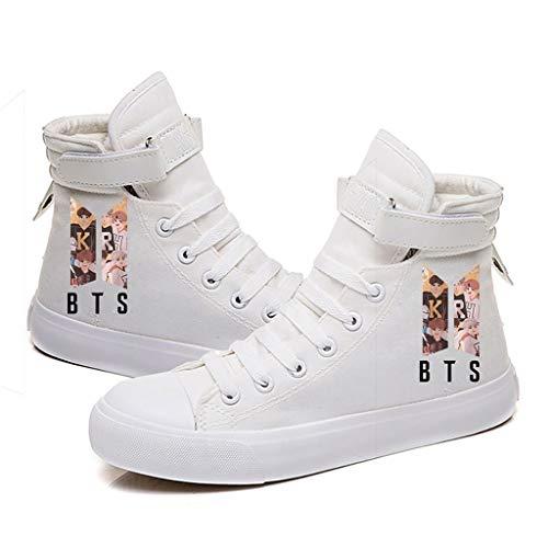 HJJ Kpop BTS, zapatillas de lona con cordones de alta parte superior, estilo hip-hop,...