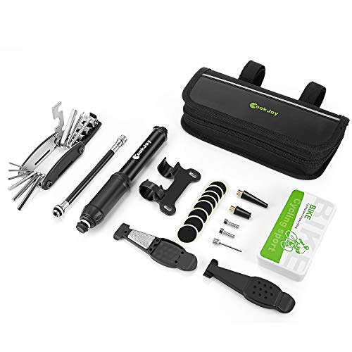 COOKJOY Bike Repair Tool, Multifunction Bicycle Mechanic Fix Tools with Mini Pump, Tire Tube Patches, Tire Levers and Handy Bag, Practical Cycling Fix Tool Kit for Road Bike Maintenance for Xmas Gift