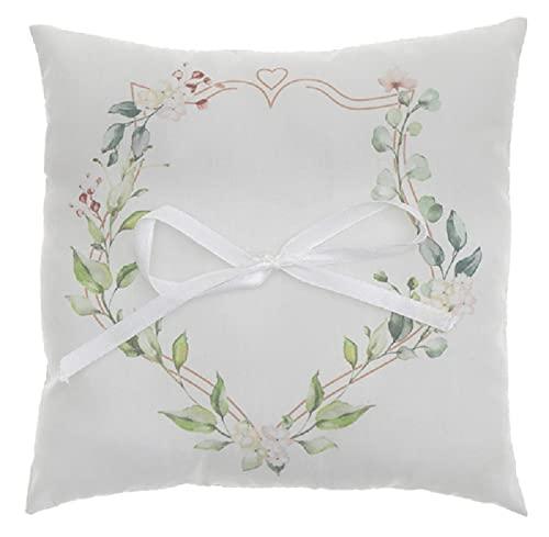 Miss Lovely Ringkussen bruiloft botanical met bloemen & eucalyptus in wit wolwit & groen trouwkussen trouwringen van katoen met satijnen strik bruiloftsdecoratie bruiloft accessoires & accessoires