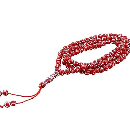 DAKIFENEY Pulsera musulmana de Oriente Medio con colgante de borla de 99 cuentas de oración de cadena islámica, pulsera para mujer, color rojo