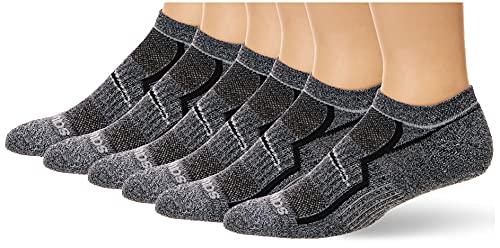 Saucony Men's Multi-Pack Bolt Performance Comfort Fit No-Show Socks, Grey Black (6 Pairs), Shoe Size: 5-8