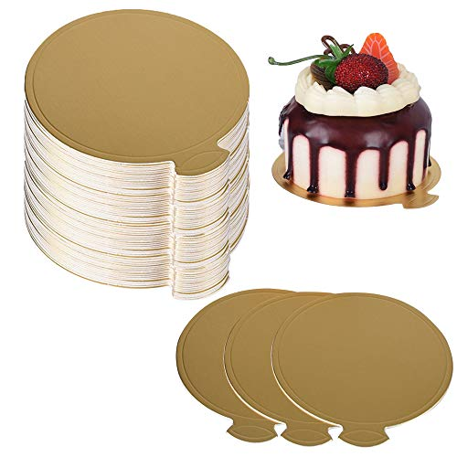 100PCS Soporte para tartas,Base para Tartas Mini bases de cartón para tartas,Platos de Papel para Postres,Redondos,Mini Torta De Oro Desechable Bandeja de Visualización para Cumpleaños de Boda