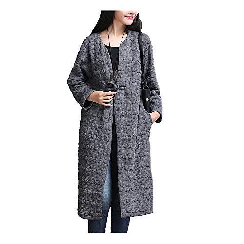 Estilo chino Primavera y Otoño de las mujeres sueltas grandes chaqueta larga cortavientos abrigo