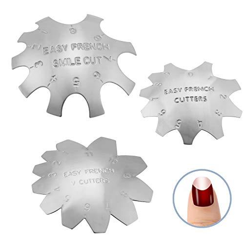 MWOOT 3 Stücke Edge Trimmer French Smile Line Werkzeug Set,kantenschneider Metall Schablone Cutter für Acryl UV Polyacryl Gel Modellage,Stil 2