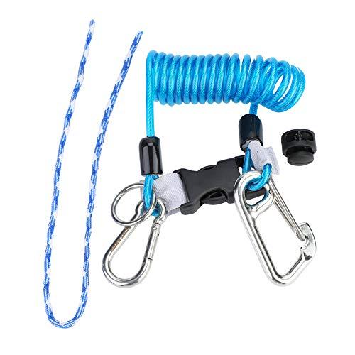 Demeras Lanyard de Buceo Anti-Lost Spring Coil Lanyard Scuba Diving Lanyard Clip de Hebilla de liberación rápida con mosquetón de Acero Herramienta de Seguridad de Emergencia(Azul)