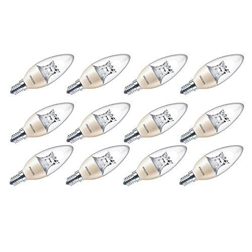 Philips LED warm Glow E14 Leuchtmittel,kleine Edison-Schraube, dimmbar, Kerzenform, 6W (40W)–Warmweiß, Synthetisch, E14, 6 wattsW 240 voltsV