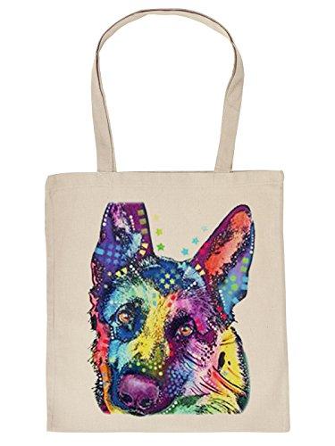 Hunde Motiv Stofftasche, Stoffbeutel, Tragetasche, Einkaufstasche, Baumwolltasche - Deutscher Schäferhund