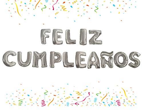 Globos Feliz Cumpleaños Letras Español, Decoración Aniversario Para Fiestas, Globos Aluminio (Plateado)