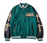 SKYWPOJU Chaqueta universitaria para Hombre Chaqueta Deportiva de béisbol Chaqueta Deportiva Chaqueta Deportiva de retales Vintage Streetwear (Color : Green, Size : XL)