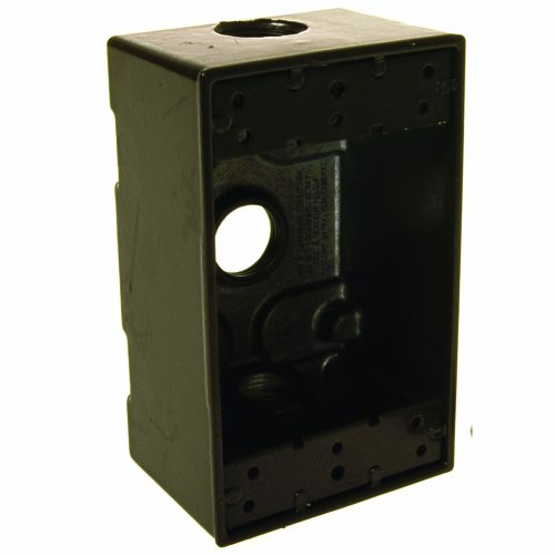 Hubbell-Raco 5320-2 Weatherproof Box, 1 Gang, 18.3 Cu-in X 4-1/2 in L X 2-3/4 in W X 2 in D, Cubic inches, Bronze