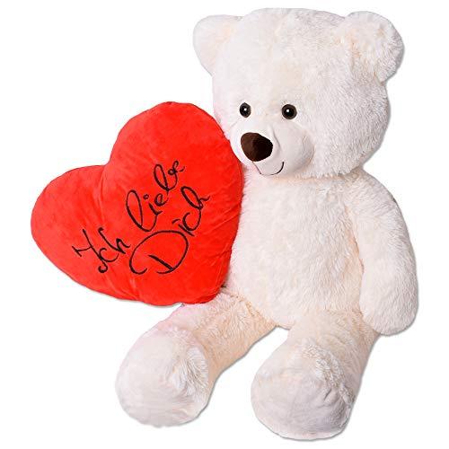 TE-Trend Teddy Bear XXL Ich Liebe Dich Teddybär Riesen Kuscheltier Herz Herzkissen Stofftier 80cm Beige