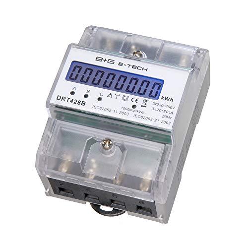 B+G E-Tech DRT428B - Digitaler Drehstromzähler für DIN Hutschiene ungeeicht - 3-Phasen Stromzähler mit LCD, S0 Schnittstelle, 1000 imp/kwh, 3x230 V / 400 V AC, direktmessend, nicht rückstellbar