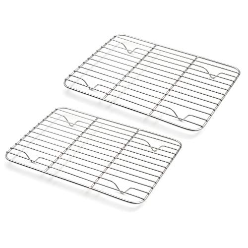 Muka 2 Pieces Baking Cooling Rack, Cake Bread Cookie Baking Rack Stainless Steel-8.5' x 6.5' 2PACK