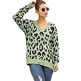 Suéter con Estampado de Leopardo para Mujer Jerséis de Manga Larga Tejido Jacquard de Punto Jersey de Cuello en V Flojo Informal
