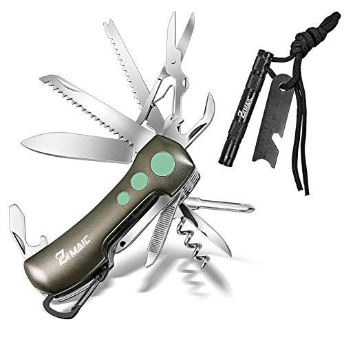 ZIMAIC Schweizer Messer & Feuerstahl,15 in 1 Schweizer Taschenmesser| Multitool Messer und 5 in 1 Feuerstein, mit Schraubendreher, Schere, Säge, Compass