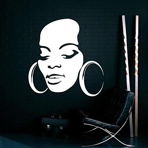Beautiful African Women Big Earrings Vinyl Wall Sticker Modern Design Wall Decoration