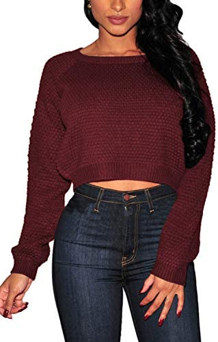 Pink Queen Women s Knit Long Sleeves Cropped Sweater Burgundy Size S product image