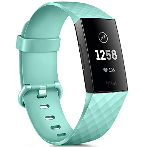Silicone Bands Compatible with Fitbit Charge 3 Bands for Women Men, Rose Gold Silver Sport Wristbands for Fitbit Charge 3/Fitbit Charge 3 SE (mint green, Large)