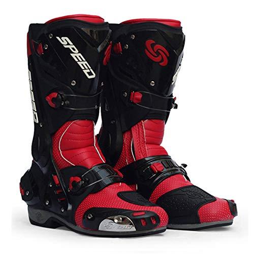 Sebasty Botas de Moto,Hombre Botas Moto Zapatos de Moto,Motocross Off-Road Speed Biker Motorbike Riding Boots,Red-41