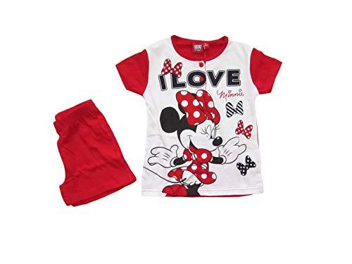 Disney Pigiama Bambina Minnie Mouse Estivo in Cotone, a Maniche Corte - 46316 (7 Anni, Rosso)