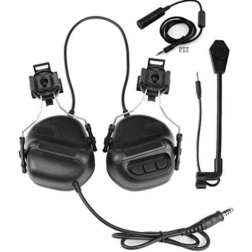 SGOYH Airsoft Paintball Jagdaktivitäten Helm Seitenschiene Kopfhörer Wasserdichtes Taktisches Headset mit Mikrofon Funktionskopfhörer und PTT (Schwarz)