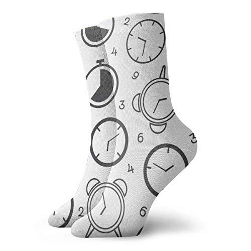 QUEMIN Reloj despertador en blanco y negro Ventilación ligera y transpirable Calcetín de tobillo Calcetines deportivos Tobillo Atlético Correr Deportes Calcetines casuales para mujeres Hombres