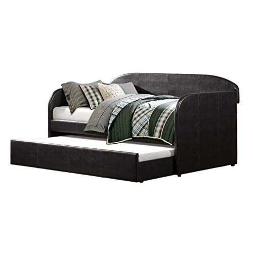 Lexicon Roland Faux Leather Daybed with Trundle in Black