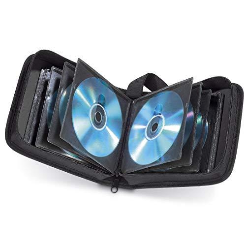 Hama CD Tasche für 40 Discs / CD / DVD / Blu-ray (Mappe zur Aufbewahrung , platzsparend für Auto & Zuhause, Transport-Hüllen) Schwarz