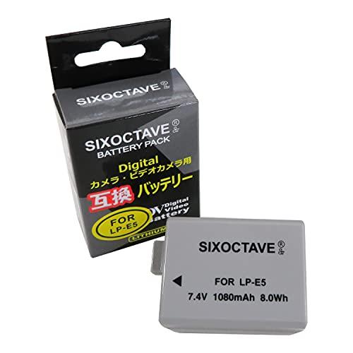 SIXOCTAVE LP-E5 互換バッテリー [ 純正充電器で充電可能 残量表示可能 純正品と同じよう使用可能] キヤノン 一眼レフ イオス カメラ EOS Kiss F/Kiss X3 / Kiss X2 / BG-E5 対応
