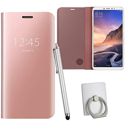 Guran® Mirror Efecto Espejo Funda para Xiaomi Mi MAX 3 Clear View Función de Soporte Plegable Smartphone Funda Protectora (Oro Rosa)
