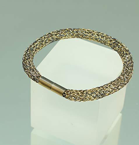 schwarz-goldenes Armband, Armreif aus Draht, 24ct Armband, Damen-Armreif in schwarz und gold
