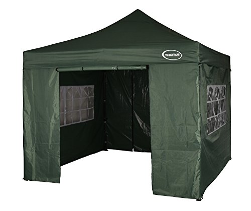 MAXIMUS HEAVY DUTY GAZEBO 3m x 3m GAZEBO MARKET STALL POP UP TENT With 4 Sides (Green)