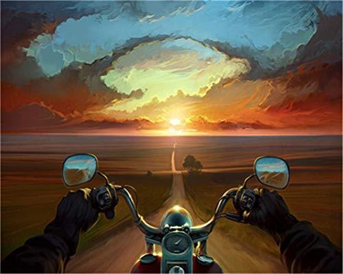 CaptainCrafts Neue malen nach Zahlen für Erwachsene Anfänger Kinder DIY vorgedruckte leinen leinwand Ölgemälde Kits 16x20 Inch - Motorrad Sonnenuntergang Landschaft (Mit Rahmen)