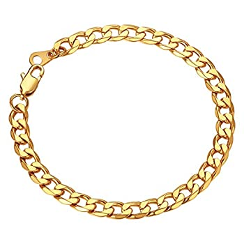 Cuban Bracelets for Men Gold Plated Wrist Chain 6mm 7.5  Gold Wrist Bracelet Boys
