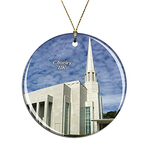 UK England Preston England LDS Mormon Temple Chorley Christmas Ornaments Ceramic Christmas Tree Decoration Hanging Ornament Xmas Gifts for Kids Girls