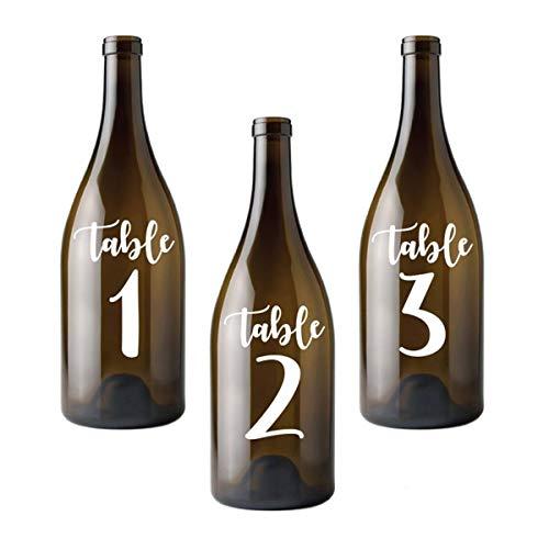 Calcomanías para números de mesa de boda y fiesta, extraíble, impermeable, para decoración de vidrio de boda, botella y tablero
