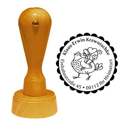 Stempel Adressstempel « HUHN mit HERZ » Durchmesser ca. Ø 40 mm - mit persönlicher Adresse, Motiv und Zierrand - Henne Herzen Herzballons Blumen Landhaus