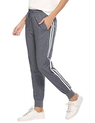 Aibrou Jogginghose Damen Sporthose Freizeithose Traininghose Baumwolle Lang für Jogging Laufen Fitness mit Streifen Dunkelgrau M
