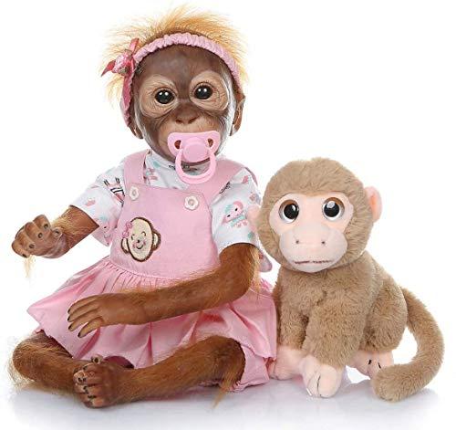 ZXYMUU 21 cm 52 Pintura de la Mano Monos detalladas realistas Muy Dulces muñecos de Silicona Suave Vinilo Colección de Arte del bebé Reborn