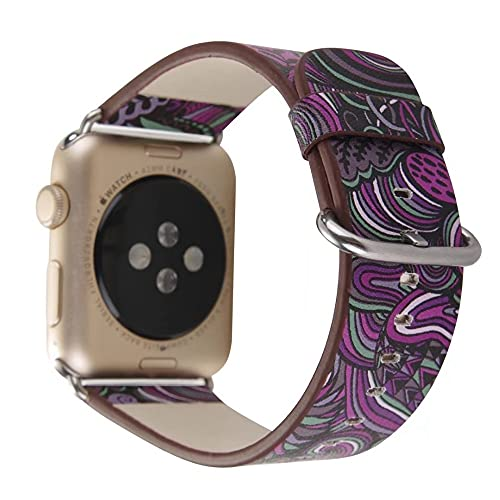Ternzun Correa de cuero para Apple Watch Band 44mm 40mm flor print correa iwatch 42mm/38mm Correa de pulsera Apple Watch 5 4 3 se 6 (38mm 40mm, púrpura)