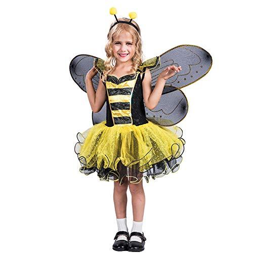 LJLis Bienenkostüm Für Kinder,Nette Biene Kinder Kostüm Beinhaltet Tutu, Flügel, Stirnband Und Mehr,L