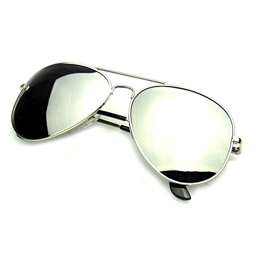 Emblem Eyewear - Completo Espejo Aviador Plata Gafas Polarizadas Gafas De Sol