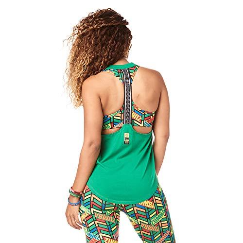 Zumba Activewear Backless Top Deportivo Dance Fitness Camisetas de Entrenamiento, Groovin' Green, X-Small