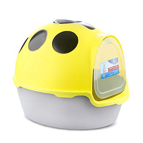 Caja de Arena para Gato Todo Cerrado Encantador Aseo Gatitos Antiolor Ecológico Abertura Frontal Fácil de Limpiar WC Inodoro,Yellow
