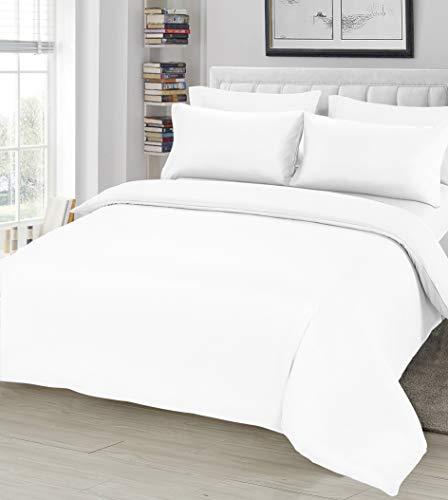 Ausumm Einfarbiger Bettbezug mit Kissenbezügen aus weicher Mikrofaser, Bettwäsche-Set – weiß, Super-Kingsize-Bett